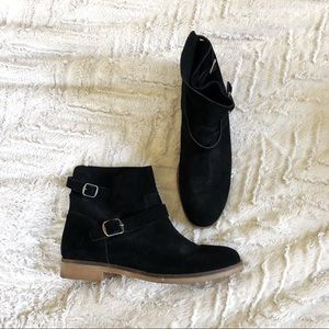 Lucky Brand suede pull on buckle ankle boots